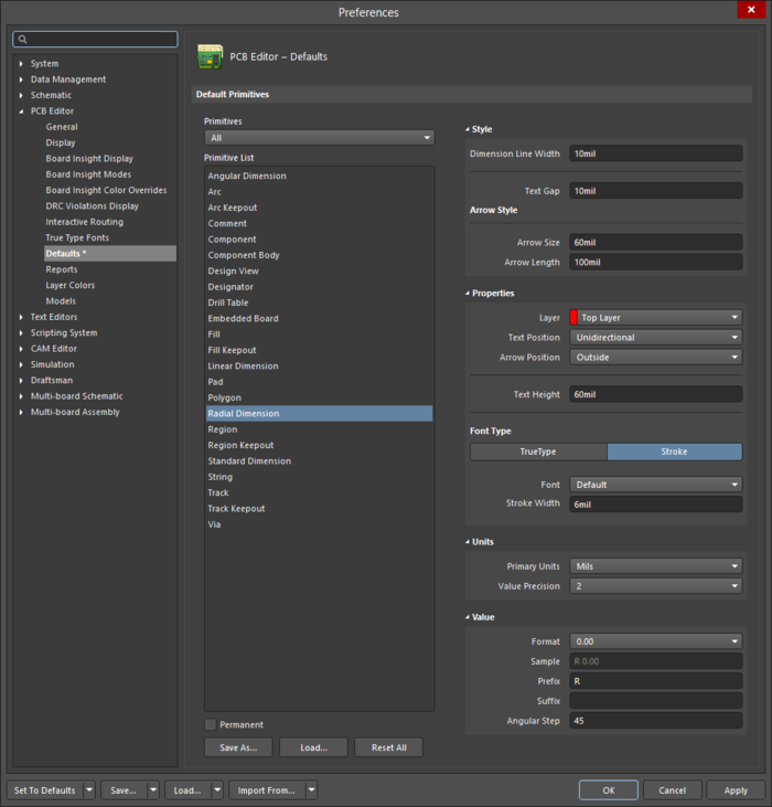 The Radial Dimensiondefault settings in thePreferencesdialog andtheRadial Dimensionmode of the Properties panel