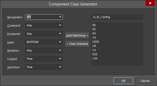 The Component Class Generator dialog