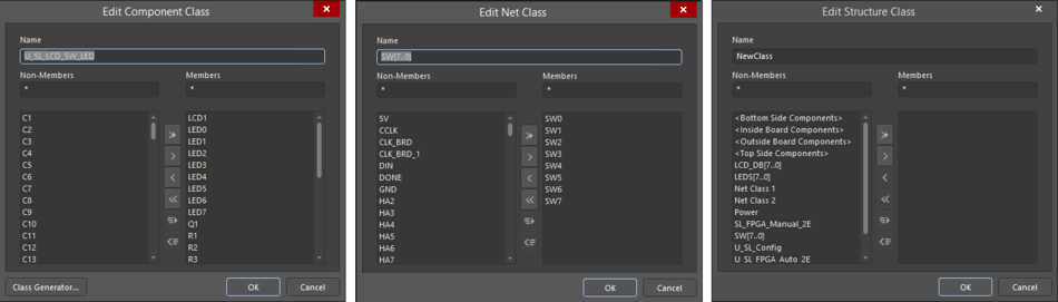 Three variations of the Edit Object Class dialog
