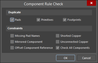 TheComponent Rule Check dialog