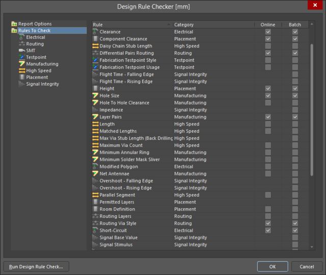 The Design Rule Checker dialog, listing all rules that can be checked.