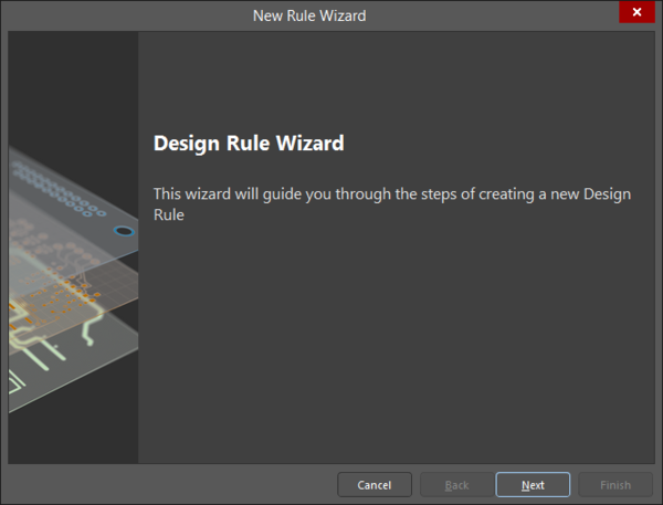 The first page of the Design Rule Wizard