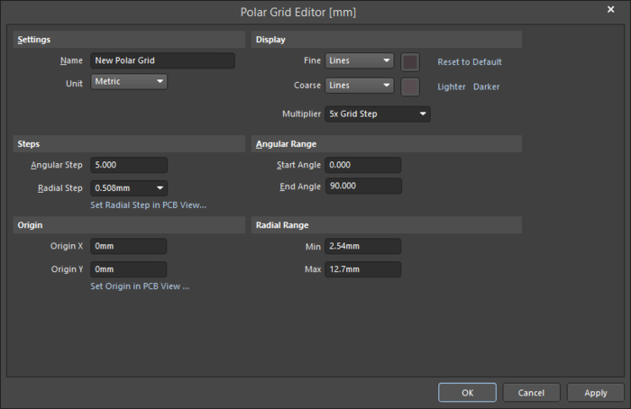 ThePolar Grid Editor dialog