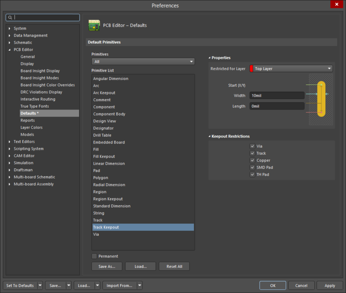 The Track Keepoutdefault settings in thePreferences dialog and the Keepout - Trackmode of the Properties panel