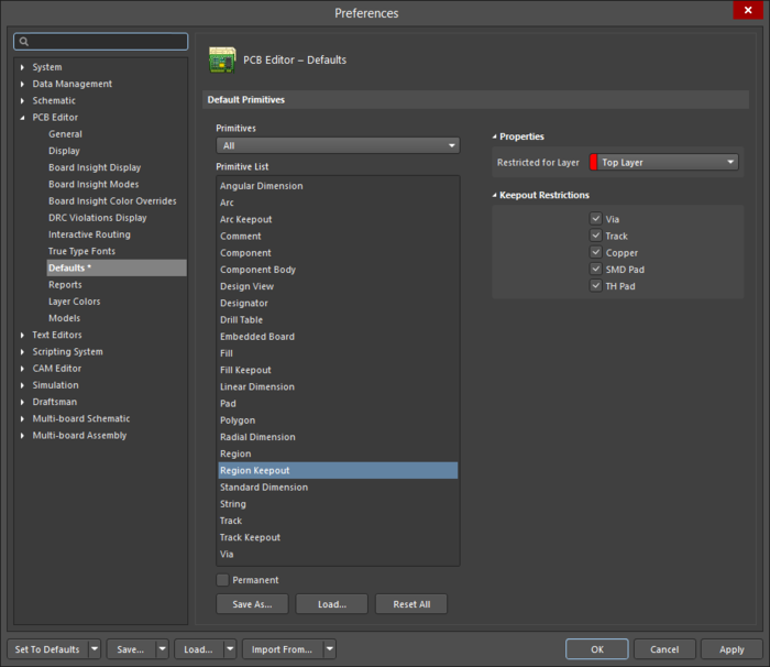 The Region Keepoutdefault settings in thePreferences dialog and the Keepout - Regionmode of the Properties panel