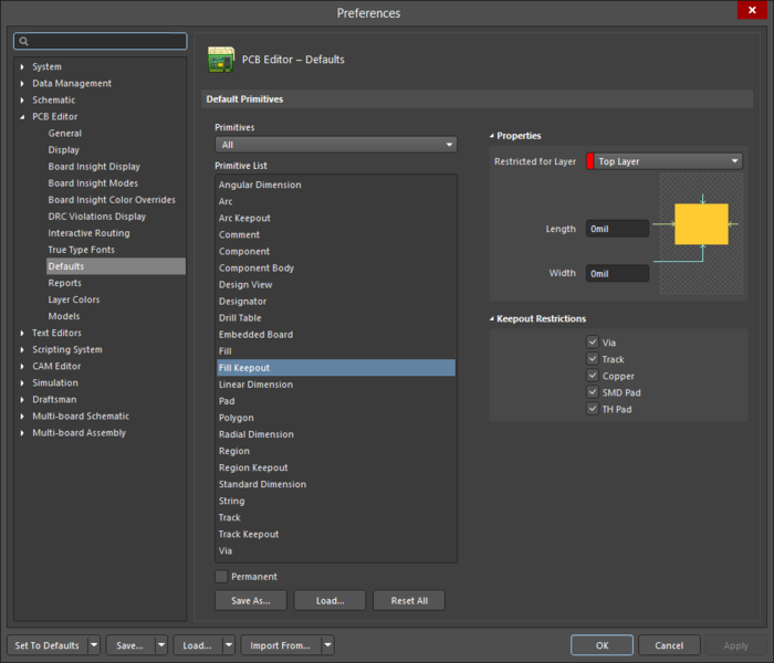 The Fill Keepoutdefault settings in thePreferences dialog and the Keepout - Fillmode of the Properties panel