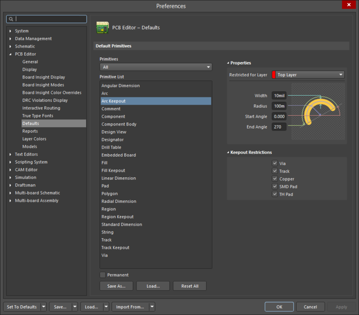 The Arc Keepoutdefault settings in thePreferences dialog and the Keepout - Arcmode of the Properties panel.