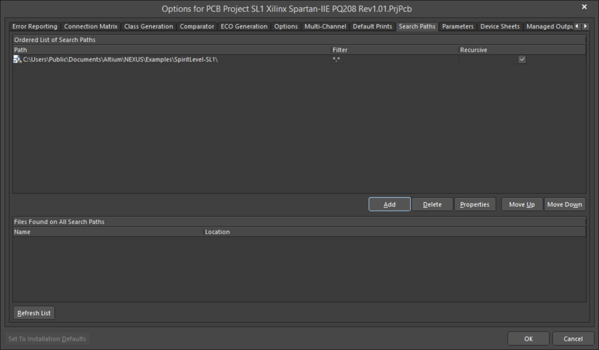 The Search Pathstab of the Project Options dialog