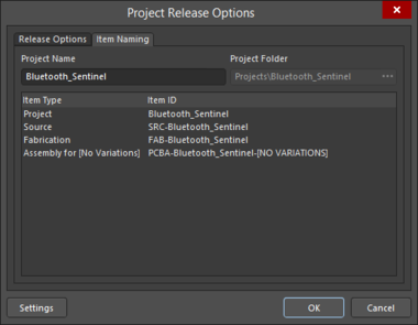 The Release Options taband Item Naming tabof theProject Release Options dialog