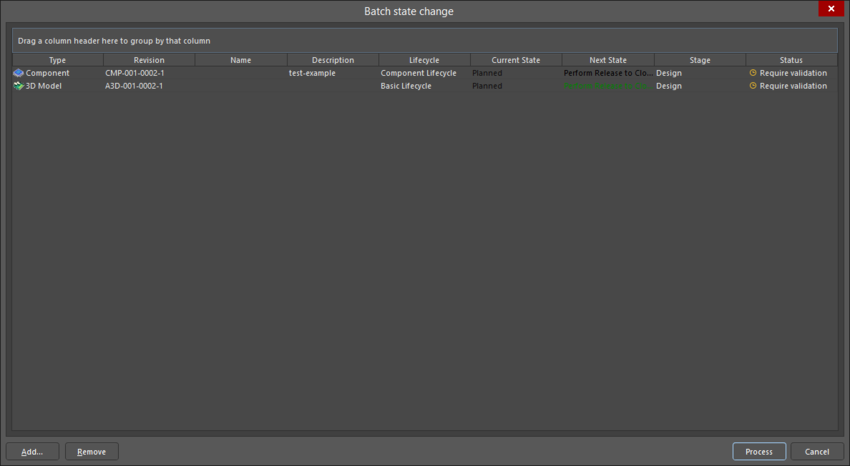 The Batch state change dialog