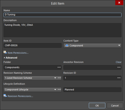 The basic and Advanced versions of the Edit Item variation of the Item Properties dialog