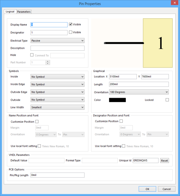 Use the Pin Properties dialog to configurepins.
