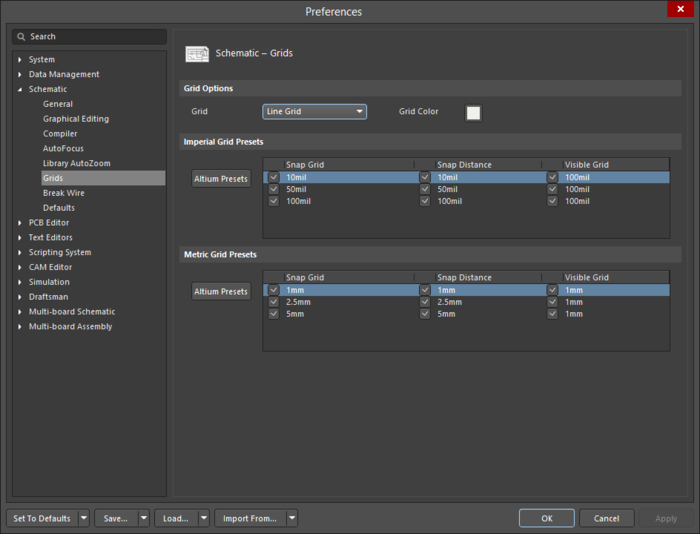 Use theSchematic – Grids page of the Preferences dialog to define the snap grid settings.