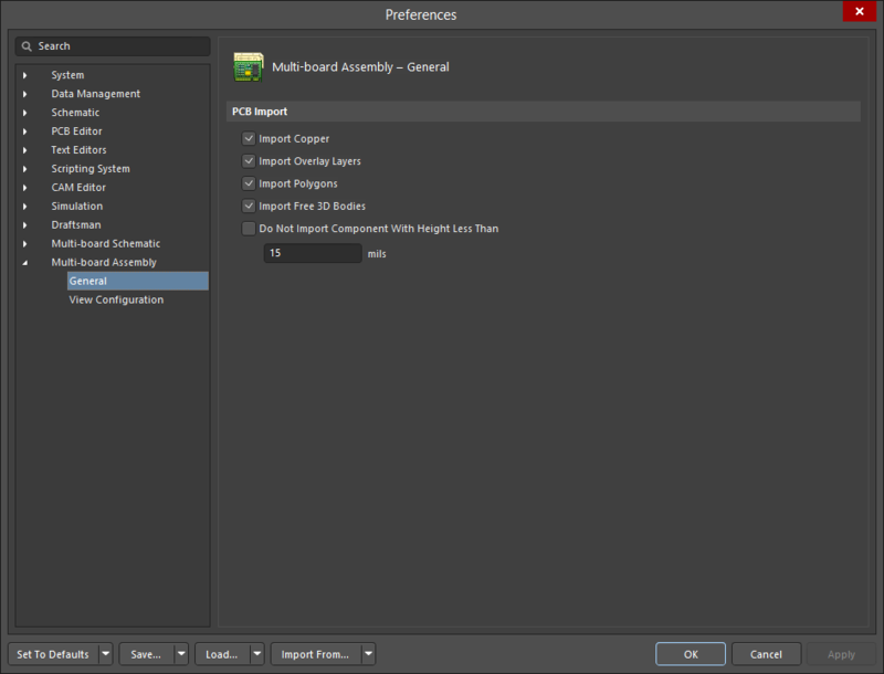 The Multi-board Assembly - General page of the Preferences dialog