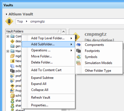 The right-click menu includes commands for defining a folder hierarchy.Note that the options change depending where you click.