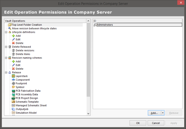 The Edit Operation Permissions dialog
