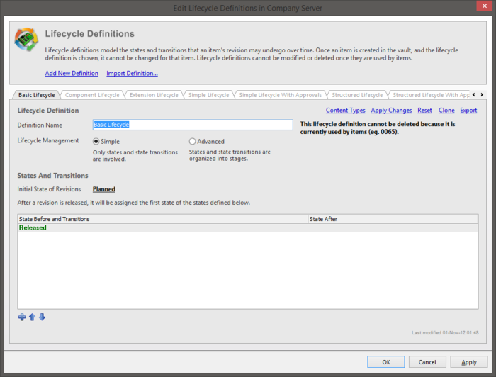 The Basic Lifecycle tab of the Edit Lifecycle Definitions dialog