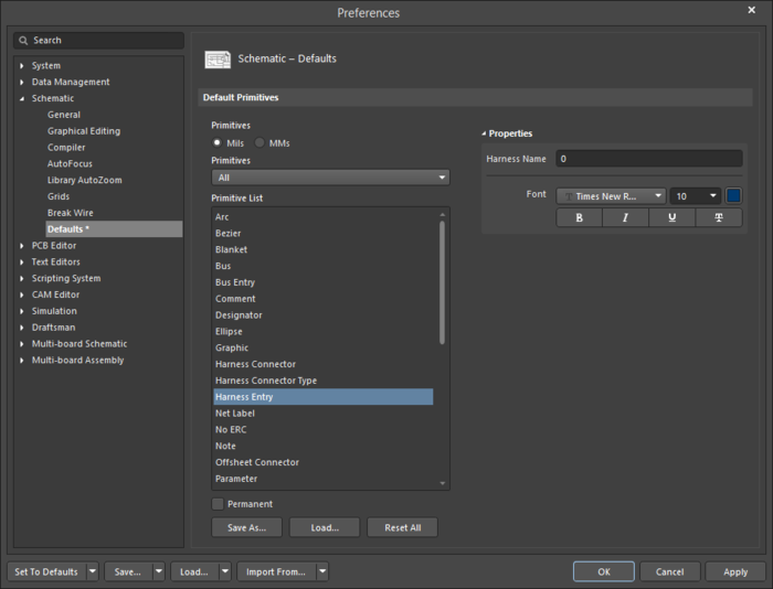 The Harness Entry default settings in thePreferences dialog and the Harness Entrymode of the Properties panel