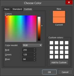 The Basic, Standard, and Custom tabs of theChoose Color dialog