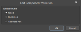 The Edit Component Variation dialog with Fitted selected, Alternate Partselected withUse server Component checked, andAlternate Part selectedwithUse server Componentunchecked