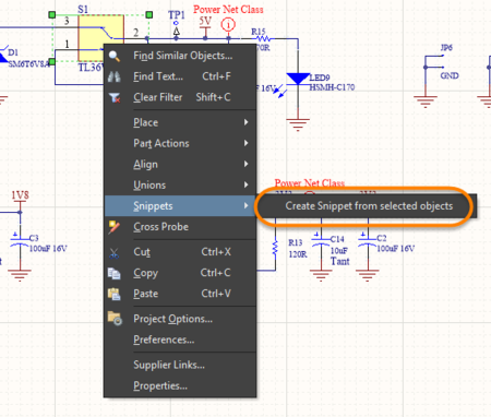 Examples of creating a snippet from a schematic and from the Snippets panel.