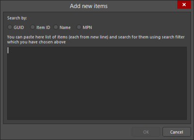 The Add new items dialog