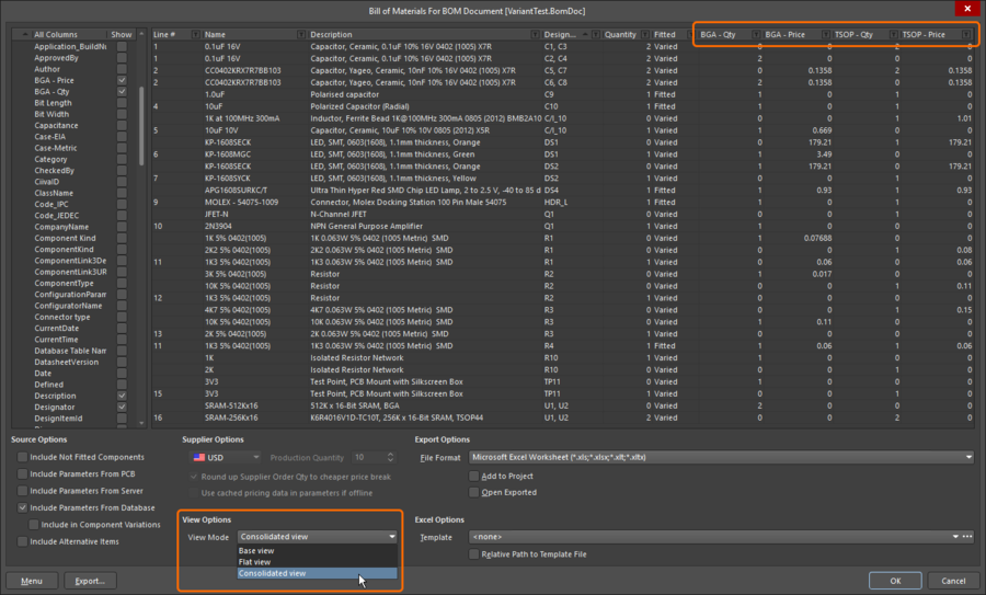 All parts in all variants (two in this example) are included in Consolidated View. This feature is only available when the Report Manager source is a BomDoc.