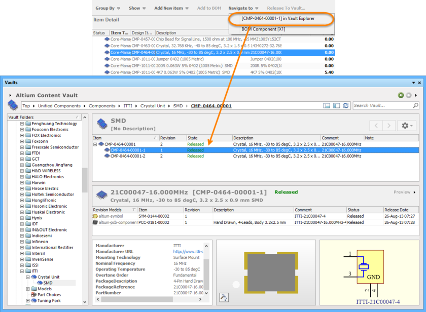 Navigating with the Managed Component Design Item ID in Vault Browser.