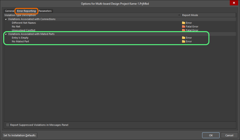 The Violations Associated with Mated Parts region on the Error Reporting tab of the Project Options dialog