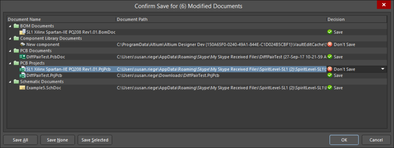 The Confirm Save for Modified Documents dialog