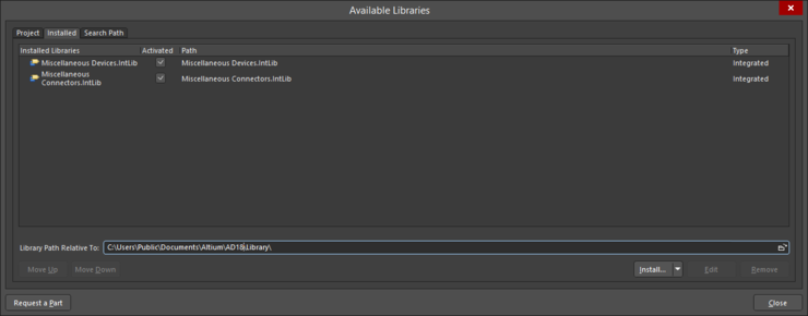 The Available Libraries dialog