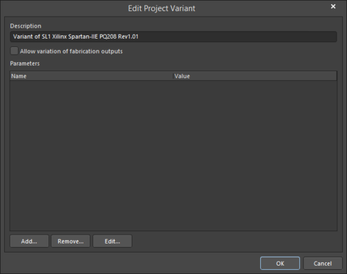 The Edit Project Variant dialog