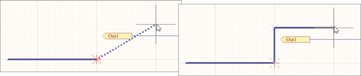 Placing a Bus segment in Auto Wire mode, as indicated by the dotted path line. When placed (right), the Bus path will automatically avoid obstacles.