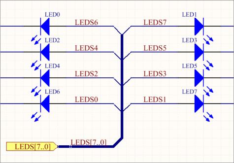 Использование объектов Bus Entry, когда цепи необходимо выделить по разные стороны линии объекта Bus.