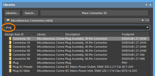 Filter the list of components to quickly locate the required component.