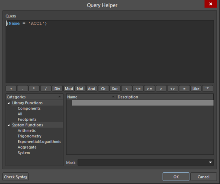 Use the Query Helperdialog to locate and learn about query keywords – click in a keyword and press F1for information about that keyword.