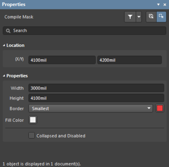 The Compile Mask mode of the Properties panel