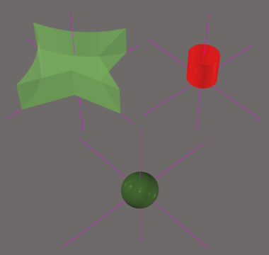 Standard 3D Body objects have a reference point, as shown in the images. Note that the reference point lines are not longso they may not appear outside the object.