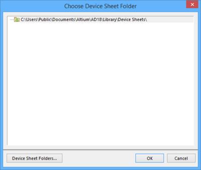 The Choose Device Sheet Folder dialog