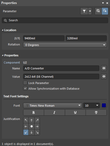 Left: Component system parameters in the Properties panel. Right: An individual system parameter in the Properties panel.