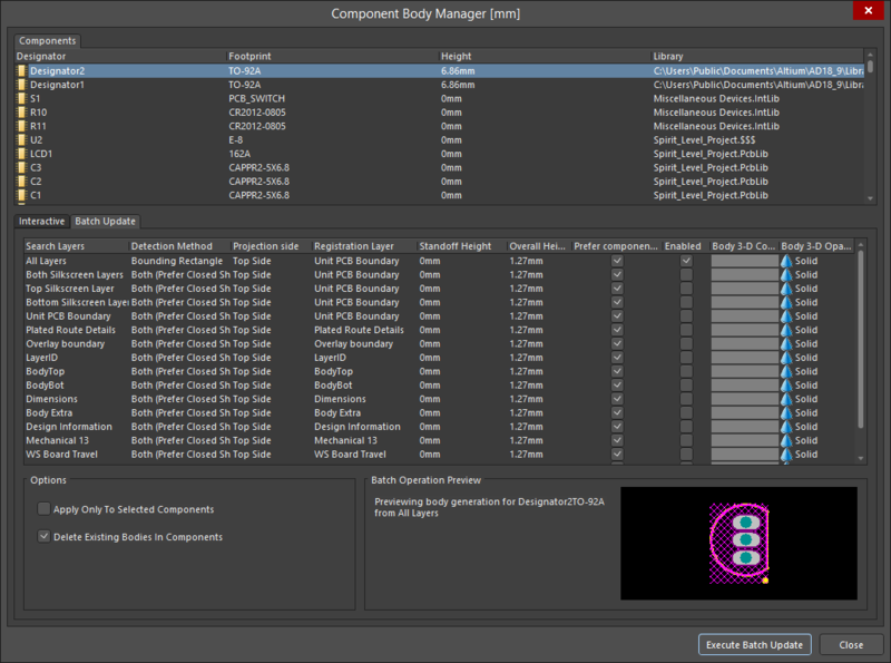 The Batch Update tab of the Component Body Manager dialog