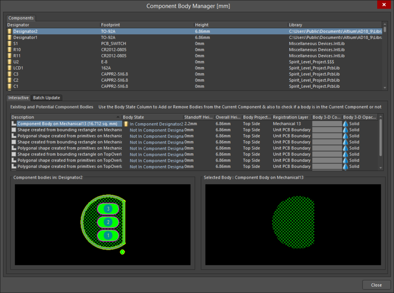 The Interactive tab of the Component Body Manager dialog