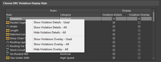 Use the grid and related commands to set up exactly how DRC violations will be displayed in the workspace.