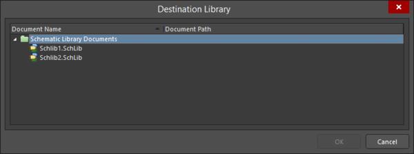 The Destination Library dialog