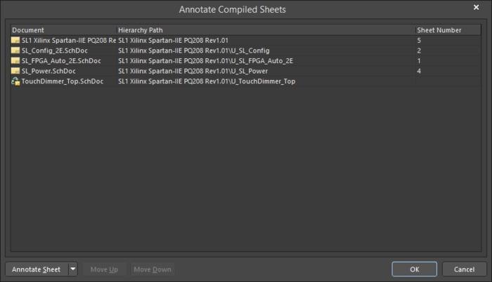 The Annotate Compiled Sheets dialog