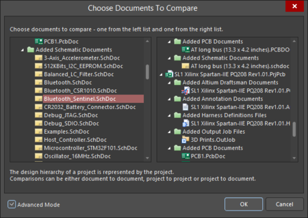The Choose Documents To Compare dialog, shown in basic (left) and advanced (right) modes.