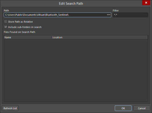 The Edit Search Path dialog