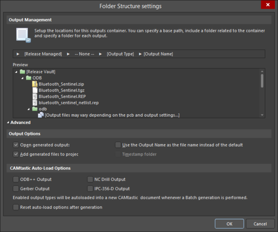 The Advanced and Basic versions of theFolder Structure settings dialog