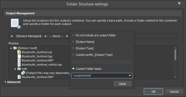 Setting the Custom Folder Name to =OutputName.
