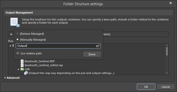 Naming the folder Output.